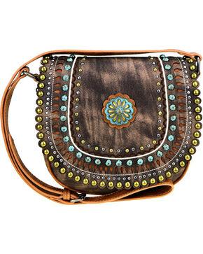 Montana West Women's Brown Concho Crossbody Bag , Brown, hi-res