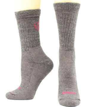 Ariat Ladies Merino Light Hiker Socks, Grey, hi-res