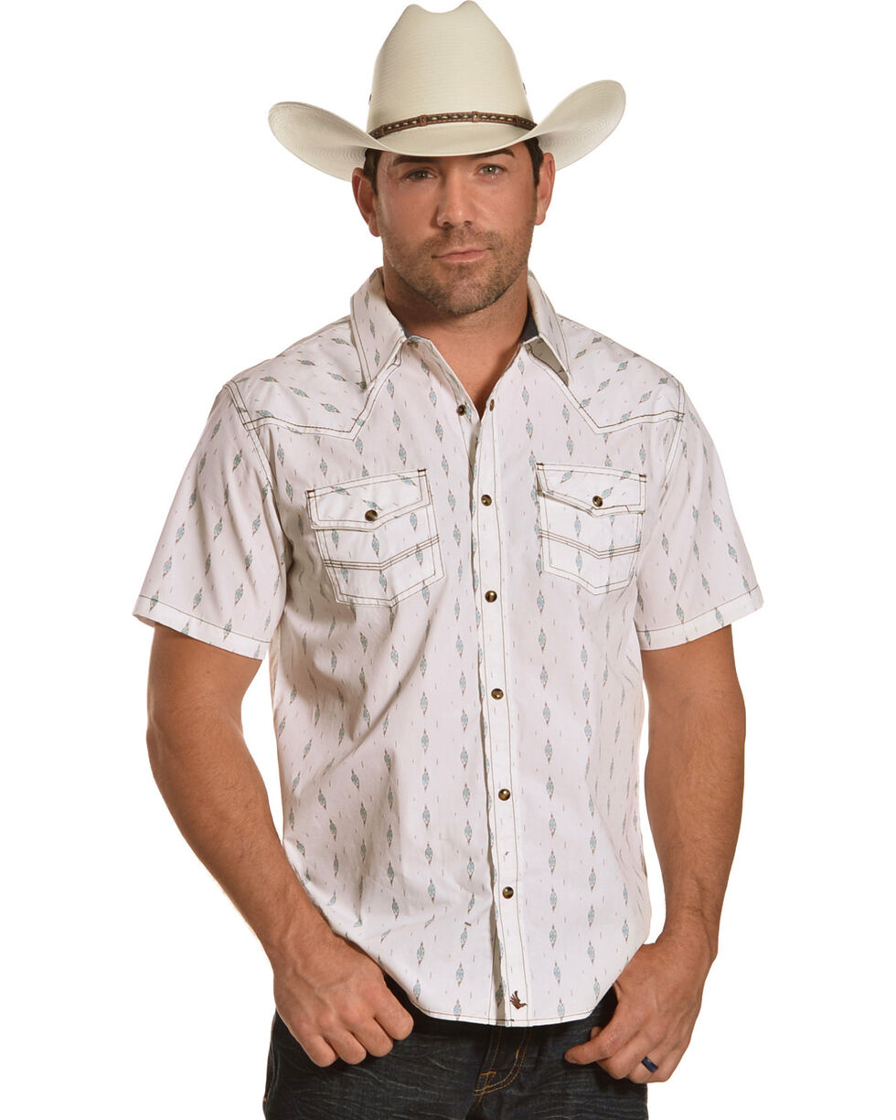 Cody James Men's Diamond Print Short Sleeve Western Snap Shirt, White, hi-res