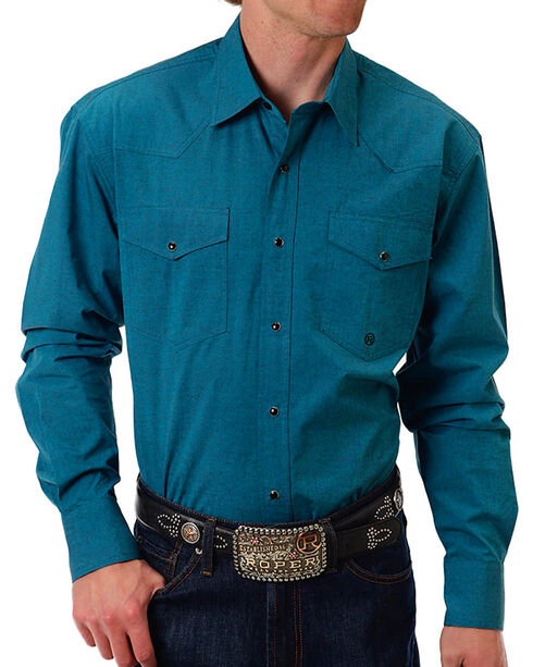 Roper Men's Solid Western Long Sleeve Shirt, Teal, hi-res