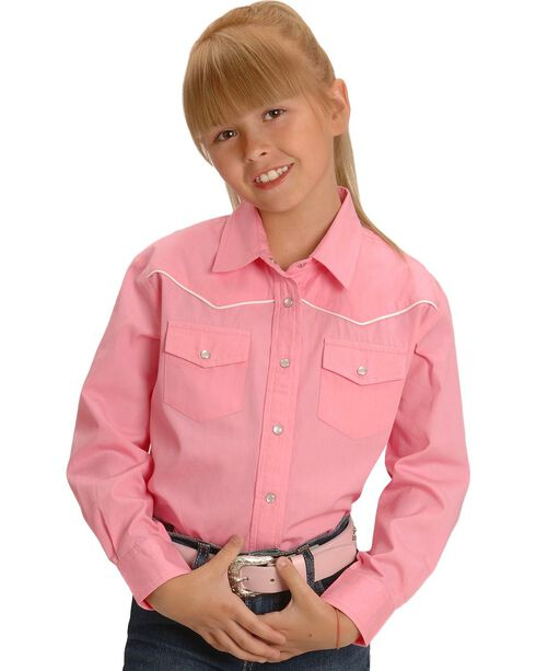 Cumberland Outfitter's Girl's Pink Long Sleeve Western Shirt, Pink, hi-res