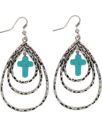 Shyanne® Women's Layered Cross Teardrop Earrings , , hi-res