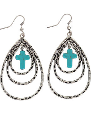 Shyanne® Women's Layered Cross Teardrop Earrings , Silver, hi-res