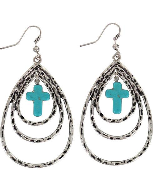 Shyanne® Women's Layered Cross Teardrop Earrings , Silver, hi-res