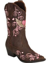 Roper Kid's Winged Heart Western Boots, , hi-res