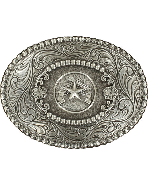 Oval Pistols Buckle, Silver, hi-res