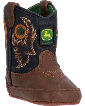 John Deere Infant Pull-on Crib Western Boots, Black, hi-res