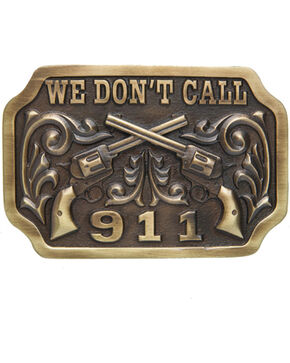 AndWest Men's We Don't Call 911 Belt Buckle, Brass, hi-res