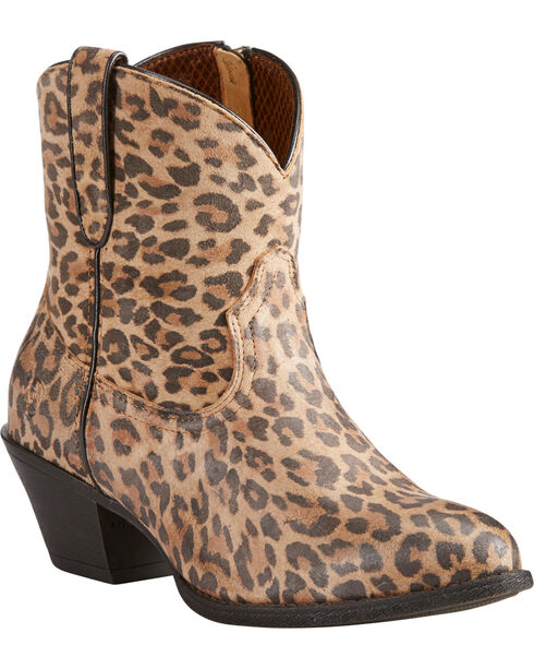 Ariat Women's Leopard Print Darlin Short Boots - Pointed Toe , Leopard, hi-res