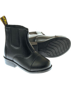 Saxon Kids' Equileather Zip-Front Boots, Black, hi-res
