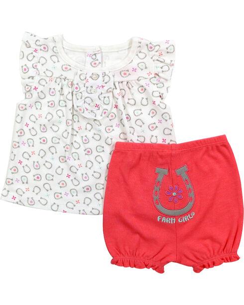 Farm Girl Infant's Horseshoe Shirt and legging Set, Pink, hi-res