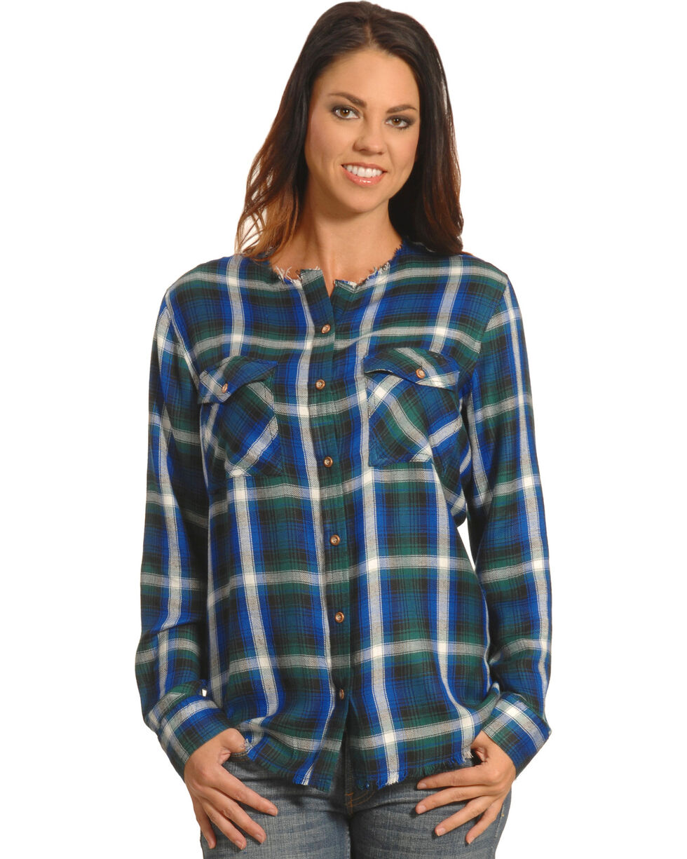 New Direction Women's Frayed Edge Blue Plaid Shirt , Blue, hi-res