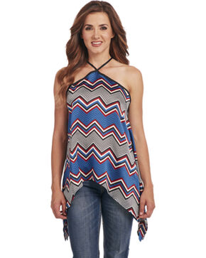 Cowgirl Up Women's Chevron Patterned Top , Red/white/blue, hi-res