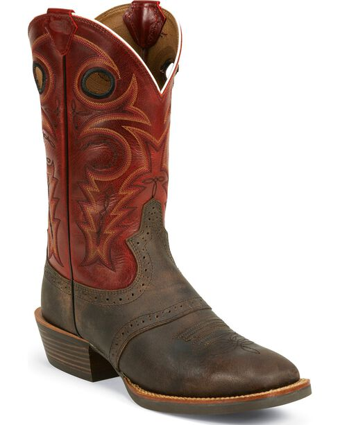Justin Silver Saddle Vamp Cowboy Boots - Square Toe, Chocolate, hi-res