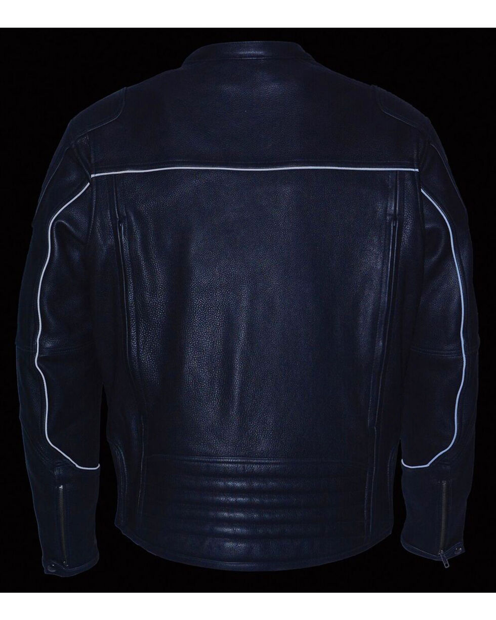 Milwaukee Leather Men's Black Cool Tec Leather Scooter Jacket - Big 4X, Black, hi-res