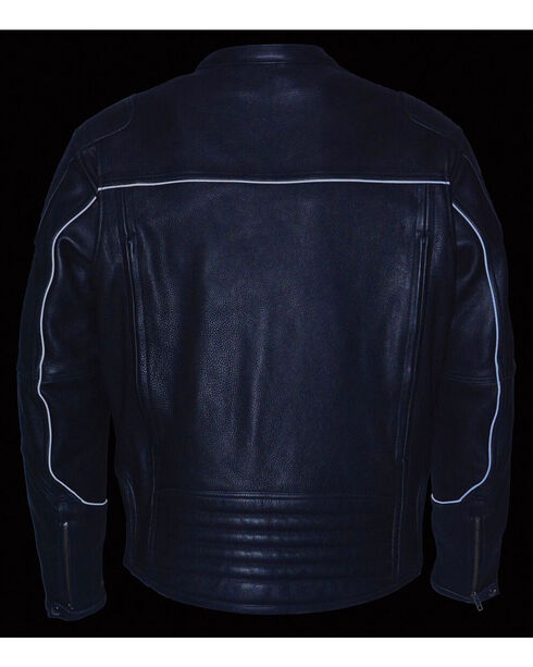 Milwaukee Leather Men's Black Cool Tec Leather Scooter Jacket - Big 5X, Black, hi-res