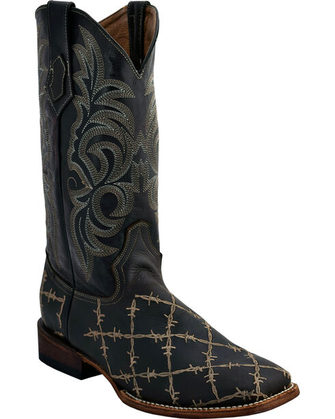 Ferrini Men's Chocolate Barbed Wire Western Boots - Square Toe , Chocolate, hi-res