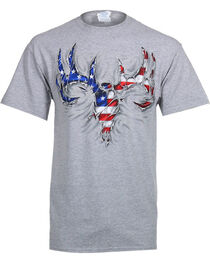 Buck Wear Men's USA Rip Skull Tee, , hi-res