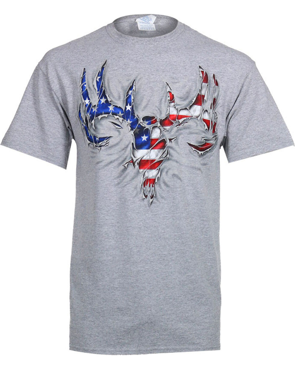 Buck Wear Men's USA Rip Skull Tee, Heather Grey, hi-res