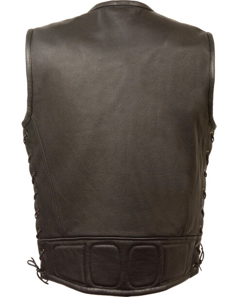 Milwaukee Leather Men's Zipper Front Full Side Lace Leather Vest, Black, hi-res