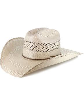 Justin Men's Bent Rail Garret Two Tone Straw Cowboy Hat, Natural, hi-res