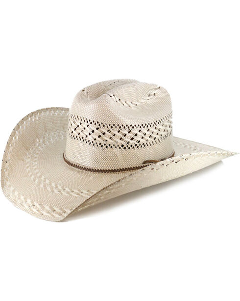 Justin Men's Bent Rail Garret Two Tone Straw Cowboy Hat, Natural, hi-res