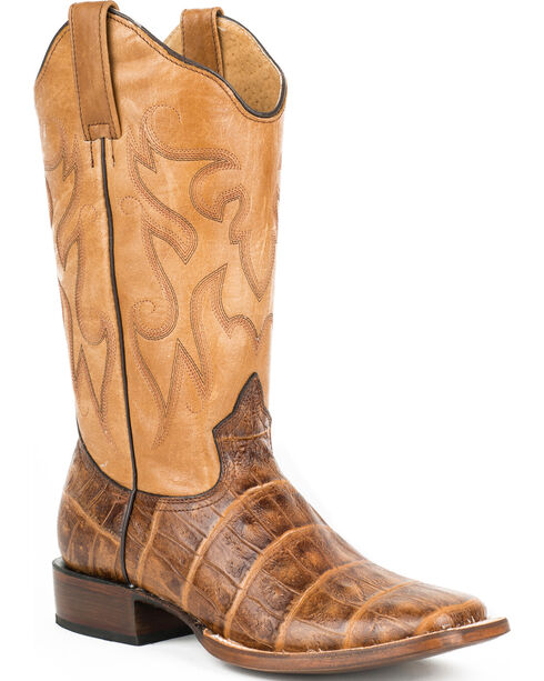 Roper Women's Gatorette Croc Print Western Boots, Brown, hi-res