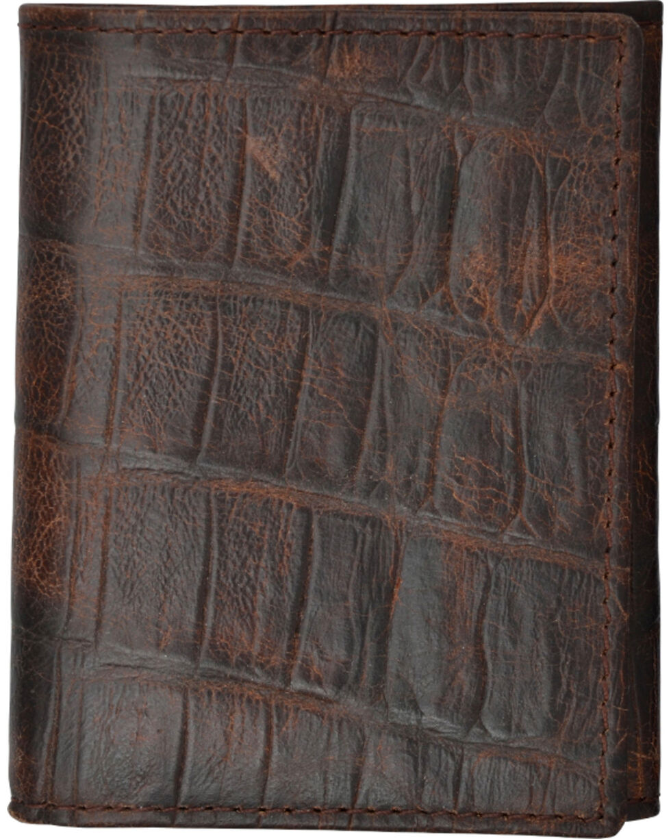 3D Men's Cognac Croc Embossed Tri-Fold Wallet, Cognac, hi-res