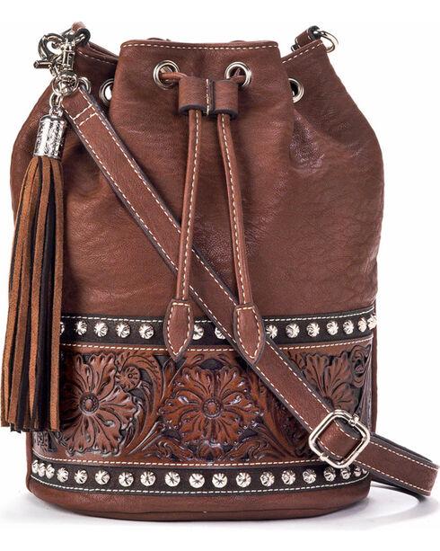 Blazin' Roxx Women's Embossed Bucket Bag, Brown, hi-res