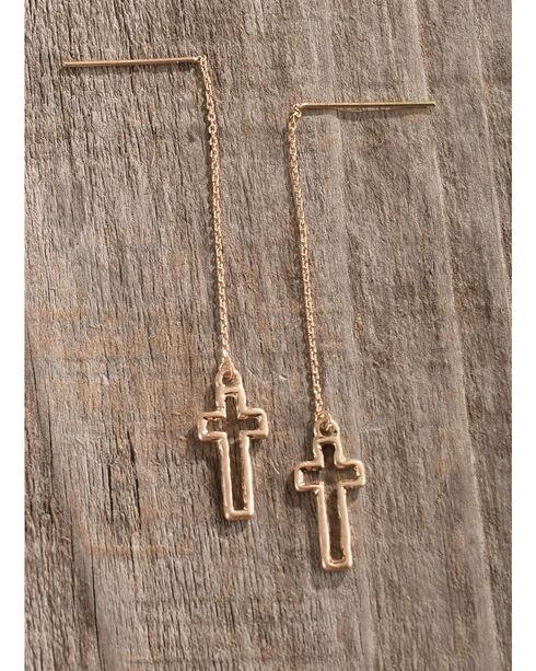 Shyanne Women's Gold Cross Thread-Through Earrings, Gold, hi-res