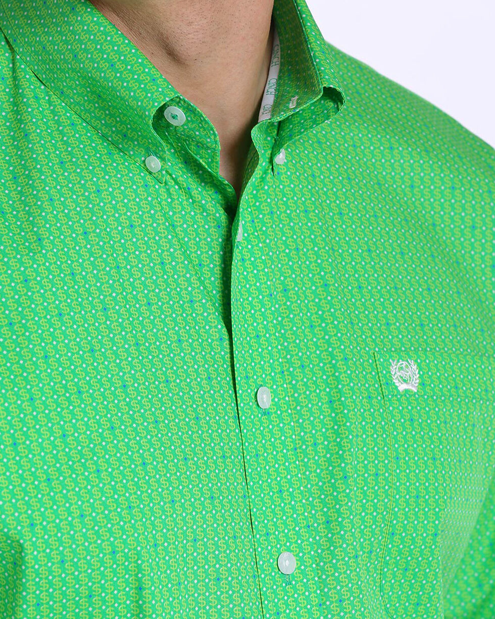 Cinch Men's Green Money Symbol Print Western Shirt , Green, hi-res