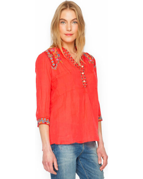 3J Workshop Malea Pleated Henley Blouse , Guava, hi-res