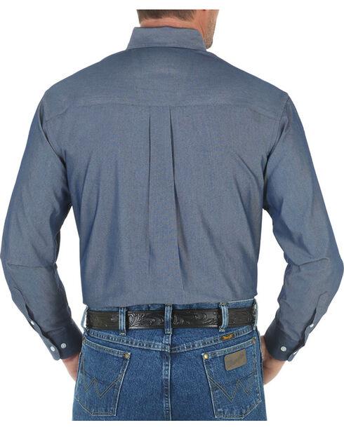 Wrangler George Strait Men's Solid Long Sleeve Shirt, Blue, hi-res