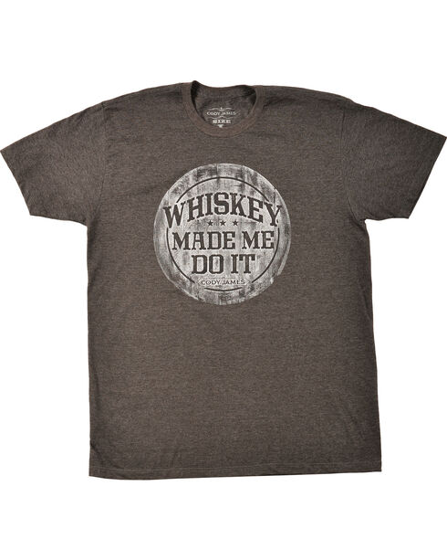 Cody James® Men's Whiskey Made Me Do It Short Sleeve T-Shirt, Heather Grey, hi-res