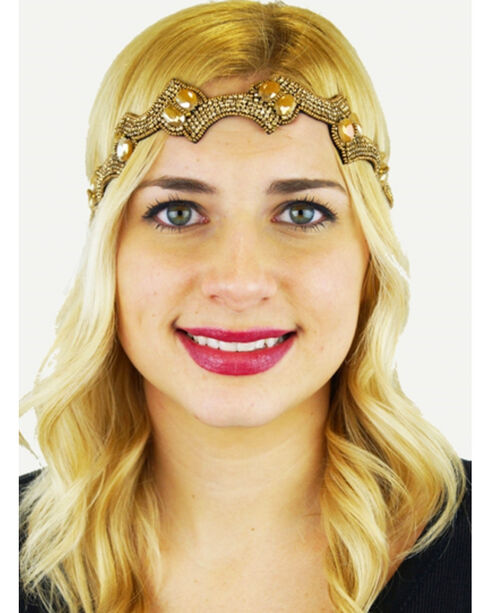 Pink Pewter Gold Hand Beaded Kerina Detachable Stretch Headband, Gold, hi-res