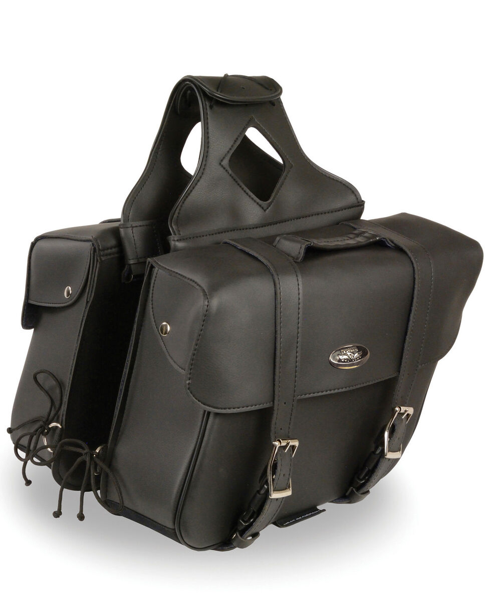Milwaukee Leather Large Zip-Off Slanted Throw Over Saddle Bag, Black, hi-res