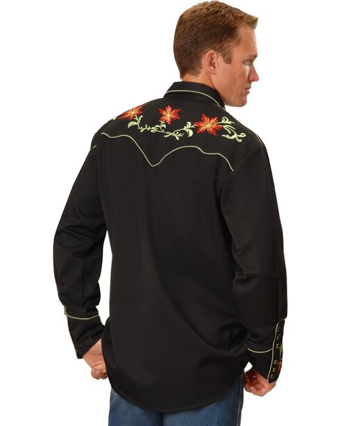 Scully Floral Embroidery Vintage Western Shirt, Black, hi-res