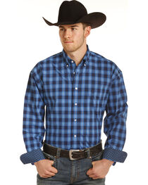 Panhandle Men's Blue Checkered Plaid Shirt , , hi-res