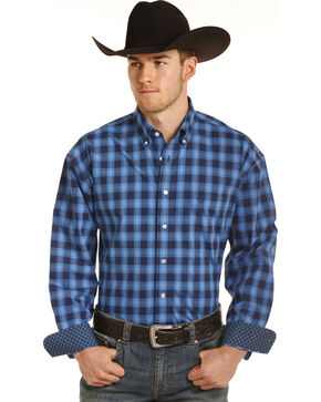 Panhandle Men's Blue Checkered Plaid Western Shirt , Blue, hi-res