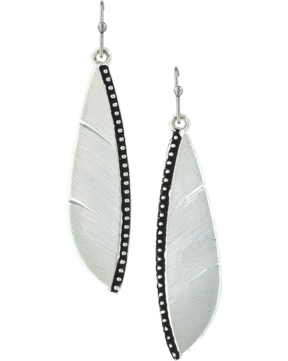 Montana Silversmiths Women's Beaded Plume Feather Earrings , Silver, hi-res