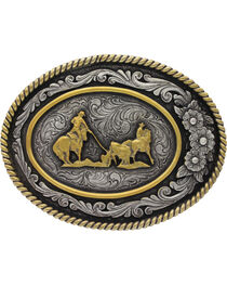 Montana Silversmiths Men's Classic Two Tone Three Flowers Cameo Team Roper Buckle , , hi-res