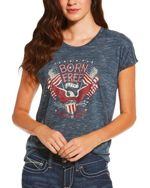 Ariat Women's Born Free Eagle Short Sleeve Tee, Navy, hi-res