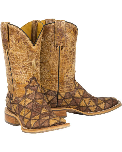 Tin Haul Tan Conquer the World Cowgirl Boots - Square Toe , Tan, hi-res