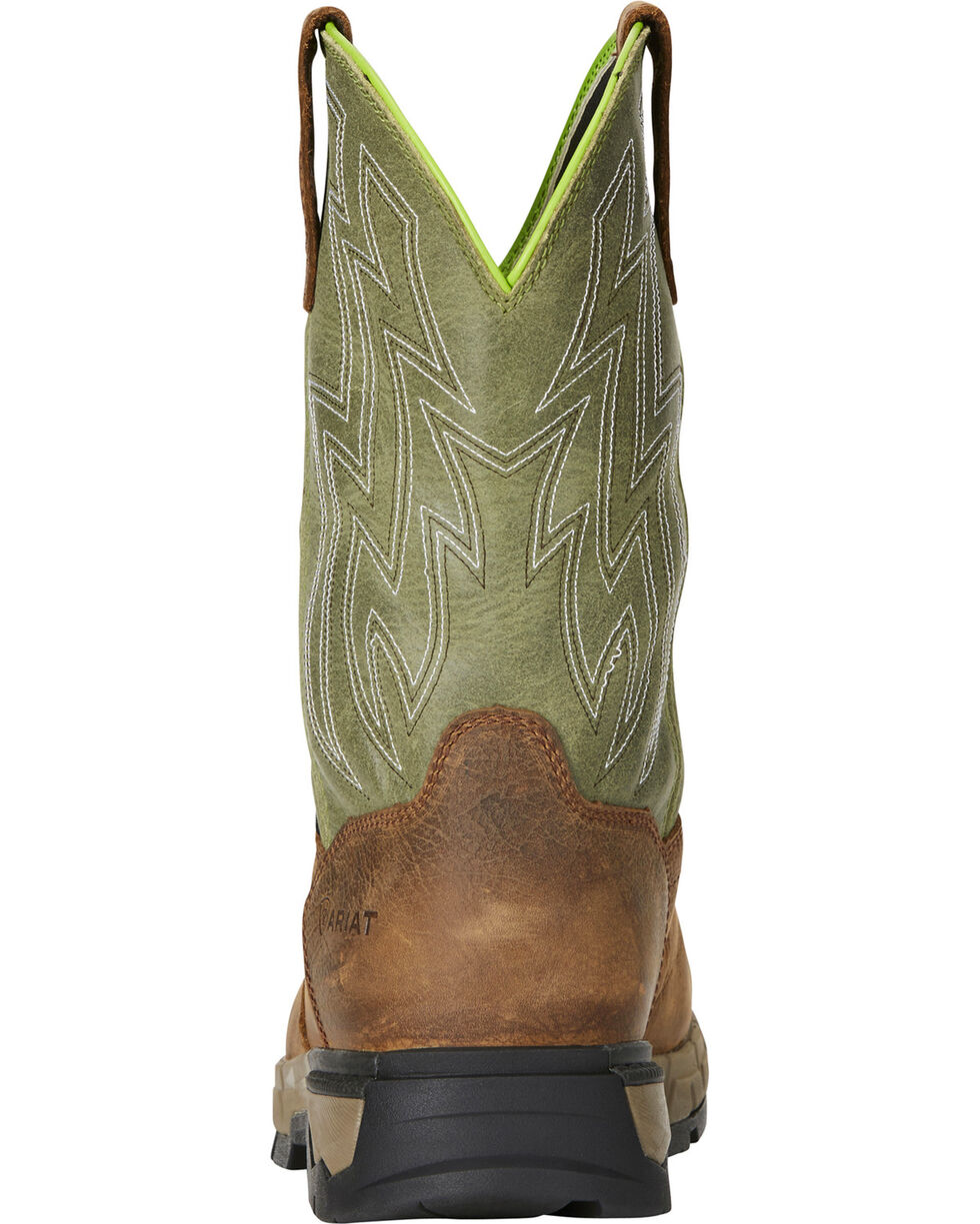 Ariat Men's Rebar Flex H2O Brown/Green Western Work Boots - Composite Toe, Chocolate, hi-res