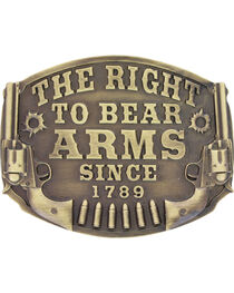 Montanan Silversmiths Bronze Right To Bear Arms Belt Buckle , , hi-res