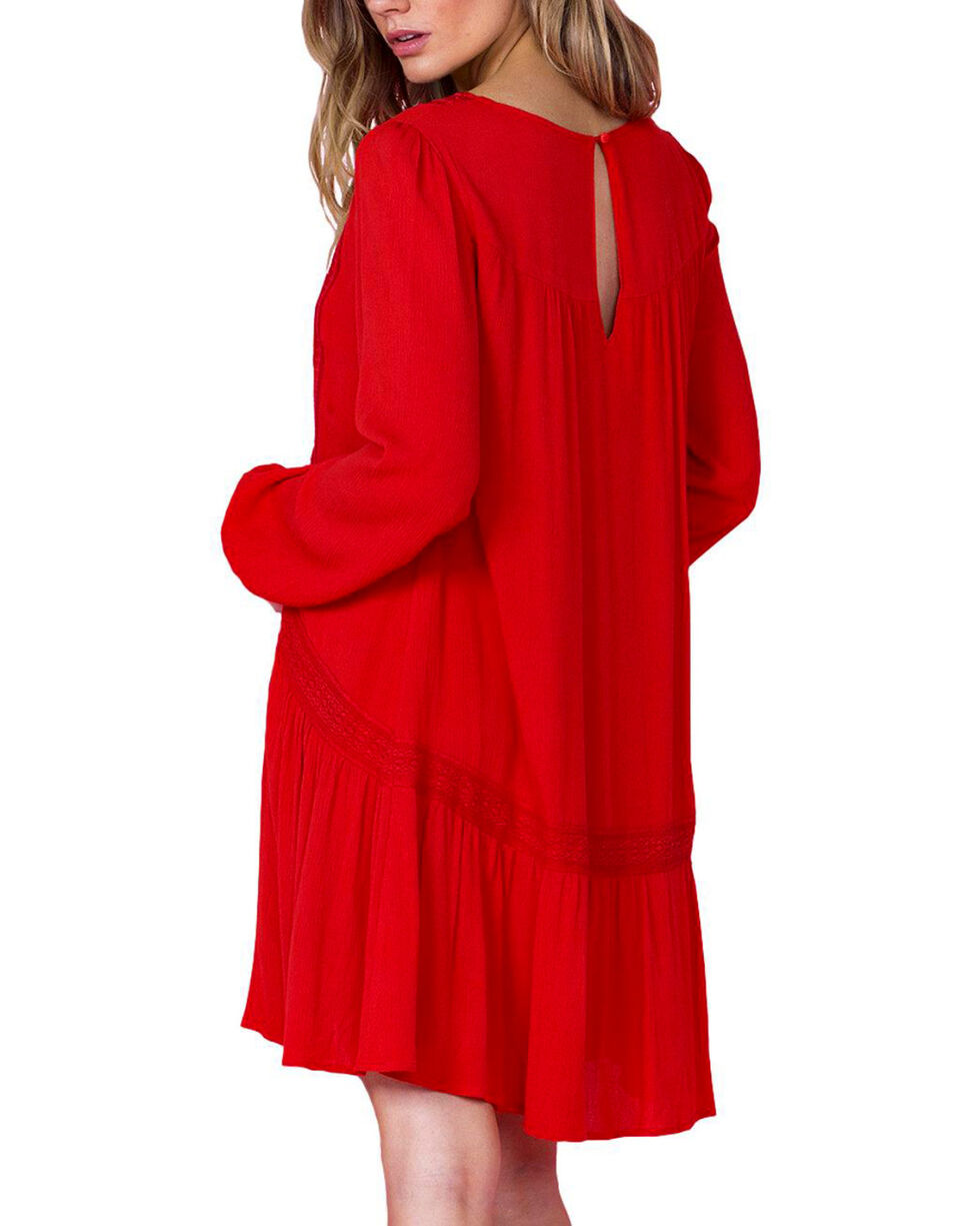 Miss Me Women's Red Peasant Dress, Red, hi-res