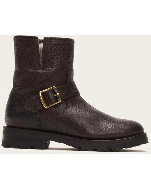 Frye Women's Natalie Short Engineer Lug Shearling Boots, Dark Brown, hi-res