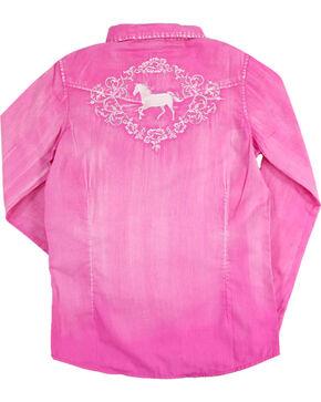 Shyanne® Girls' Washed Rhinestone Button Down Long Sleeve Shirt, Multi, hi-res