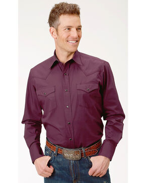 Roper Men's Performance Long Sleeve Solid Snap Shirt, Burgundy, hi-res