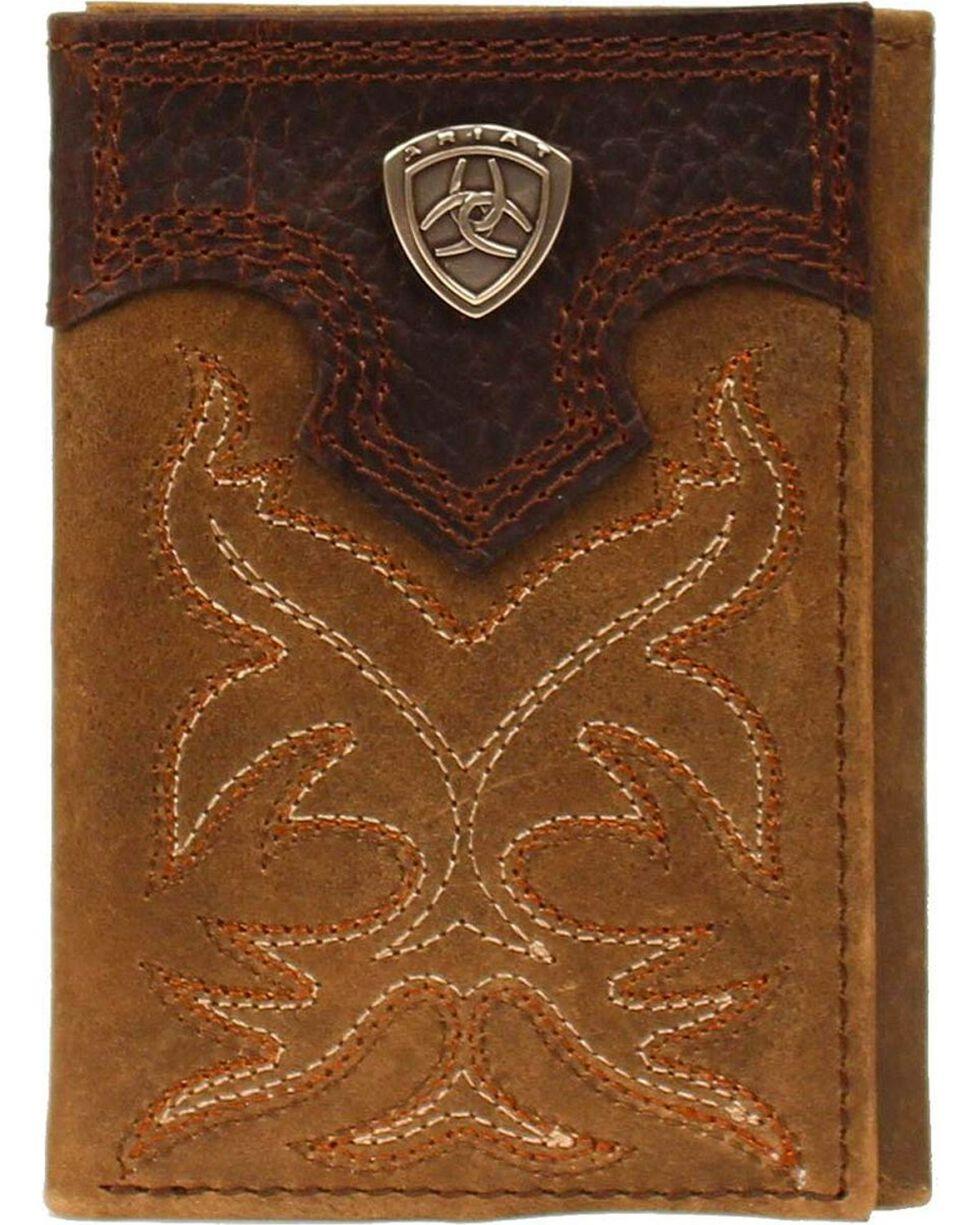 Ariat Boot Stitched Tri-fold Wallet, Med Brown, hi-res